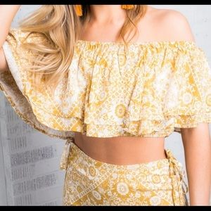 Free People Tops - White and Gold Crop Top
